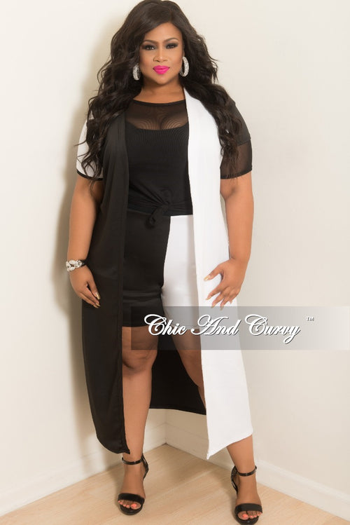 Final Sale Plus Size 2-Piece Duster and Short Set in White and Black (Seasonal Item)