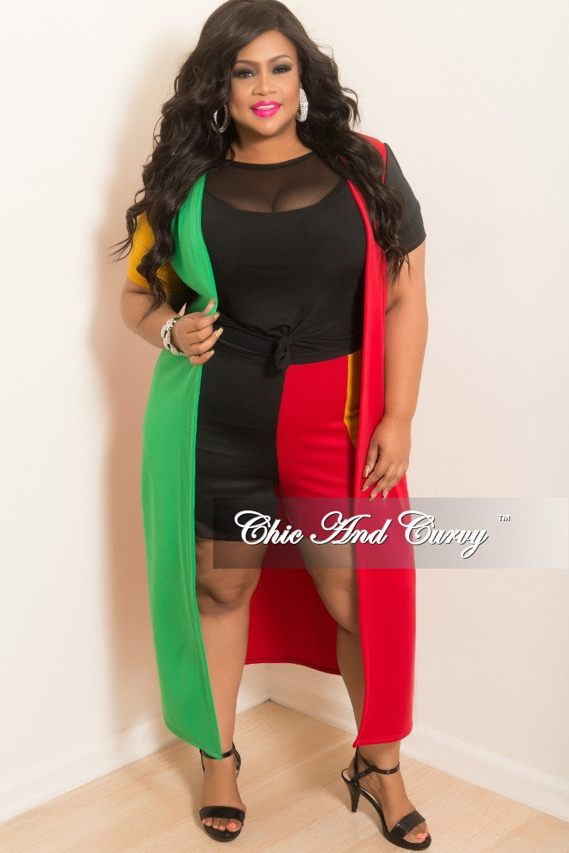 Final Sale Plus Size 2-Piece Duster and Short Set in Red Mustard Green and Black (Seasonal Item)