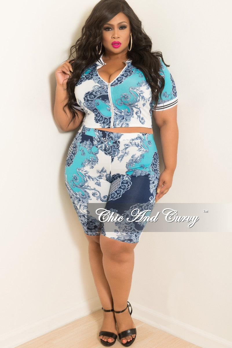 Final Sale Plus Size 2-Piece Zip-Up Short Sleeve and Pants Set in Navy Turquoise and White