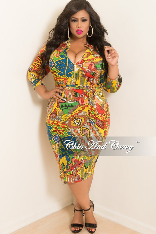 New Plus Size BodyCon Dress with 3/ 4 Sleeves Front Gold Zipper and Attached Tie in Mustard Multi Color Print