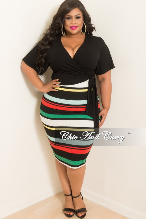 Final Sale Plus Size Stripe BodyCon Tube Dress/Skirt in Green Red Off White Black and Yellow