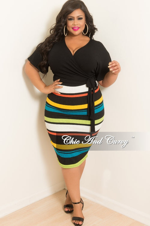 Final Sale Plus Size Stripe BodyCon Tube Dress/Skirt in Lime Green Coral Off White Black and Mustard
