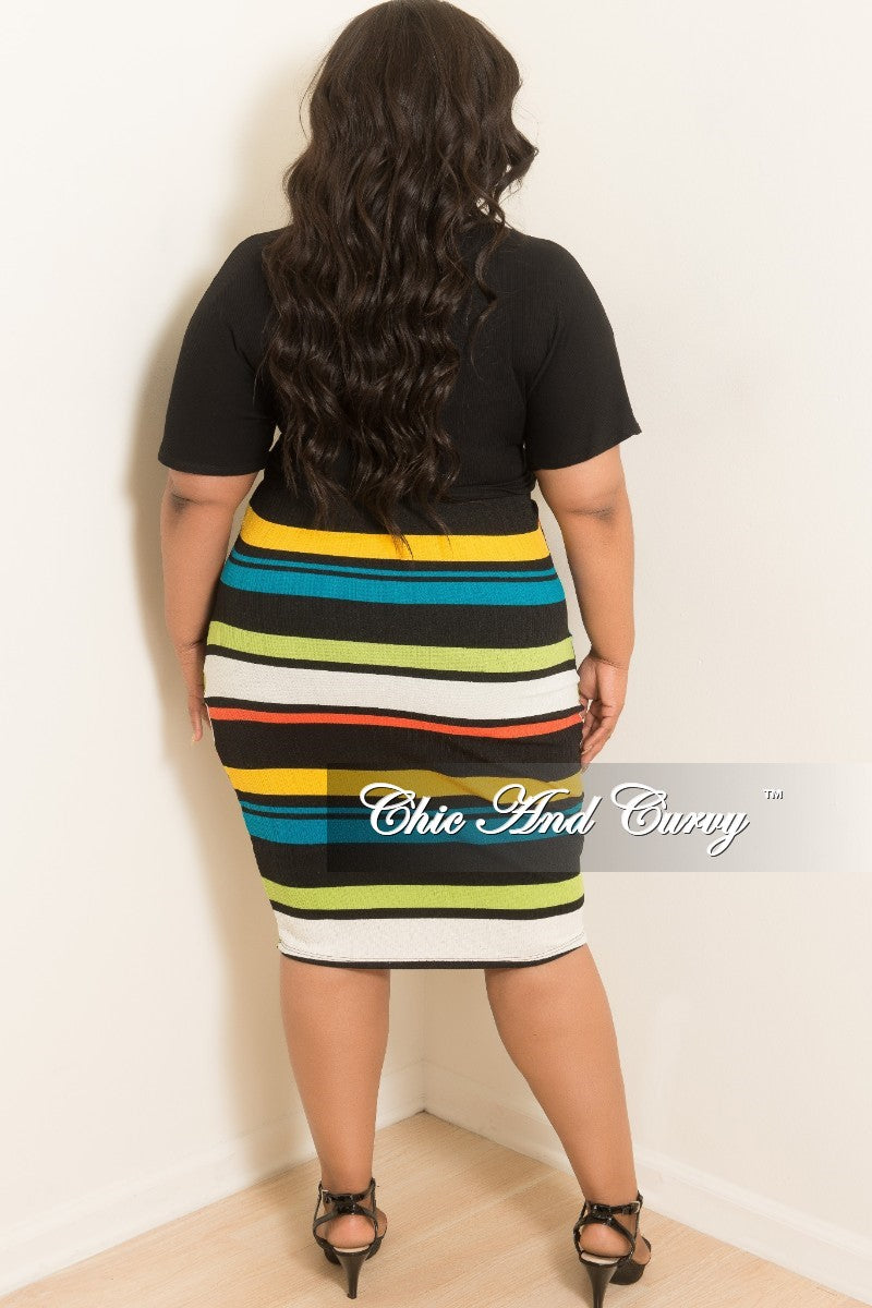 New Plus Size Stripe BodyCon Tube Dress/Skirt in Lime Green Coral Off White Black and Mustard