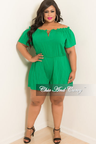 New Plus Size Off the Shoulder Romper with Front Cutout in Green