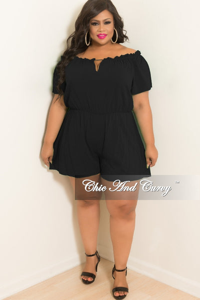 New Plus Size Off the Shoulder Romper with Front Cutout in Black