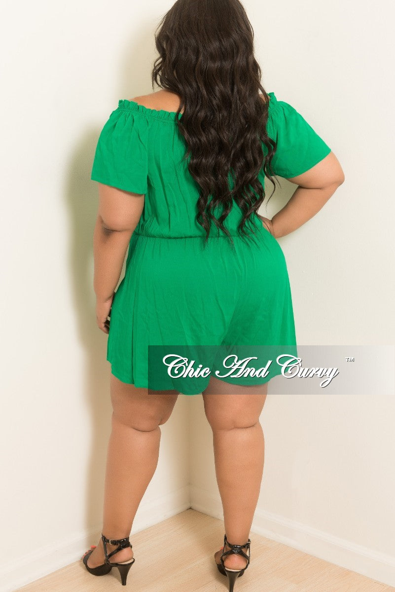 Final Sale Plus Size Off the Shoulder Romper with Front Cutout in Green