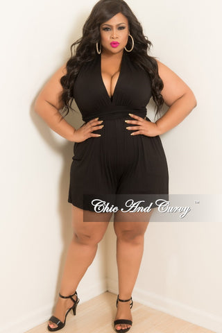 Final Sale Plus Size Off the Shoulder Romper with Front Cutout in Black