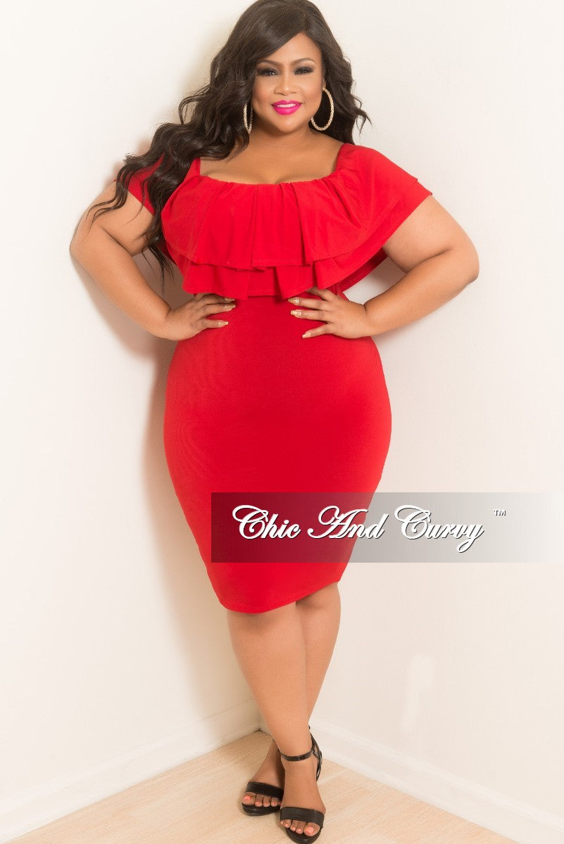 New Plus Size Off the Shoulder BodyCon Ruffle Dress in Red