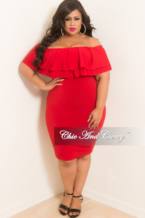 Final Sale Plus Size Off the Shoulder BodyCon Ruffle Dress in Red