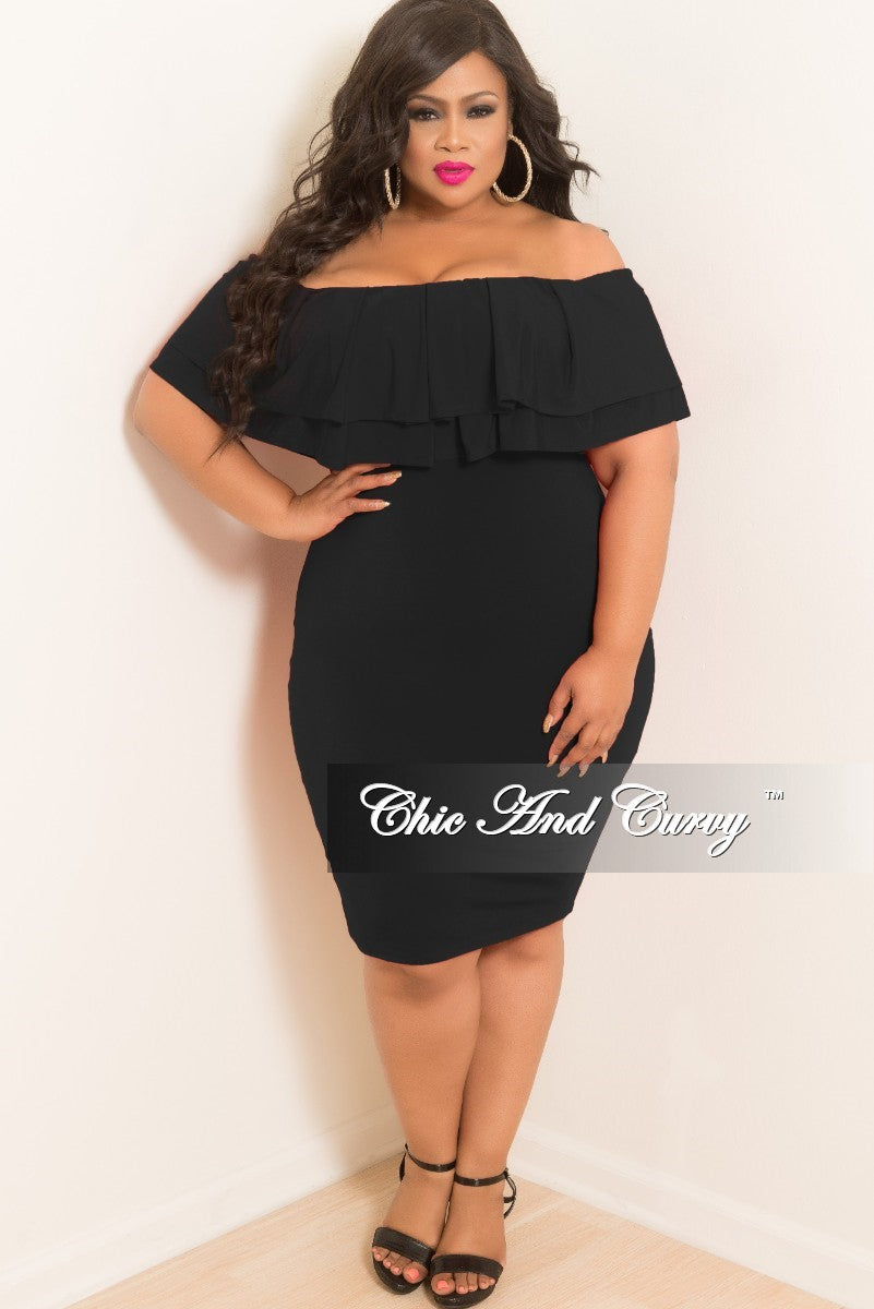New Plus Size Off the Shoulder BodyCon Ruffle Dress in Black – Chic ...