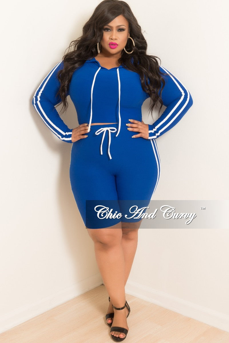 Final Sale Plus Size 2-Piece Hooded Top and Shorts Set in Royal Blue with White Trim