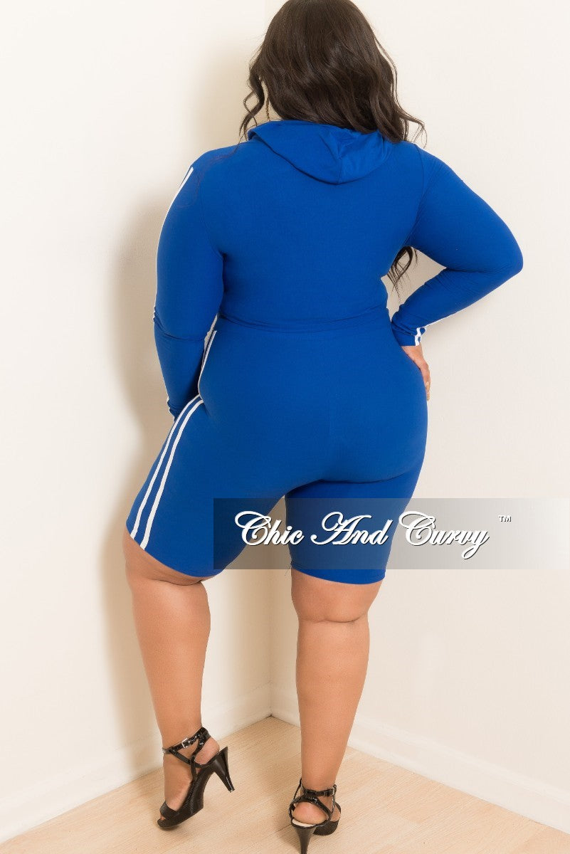 New Plus Size 2-Piece Hooded Top and Shorts Set in Royal Blue with White Trim
