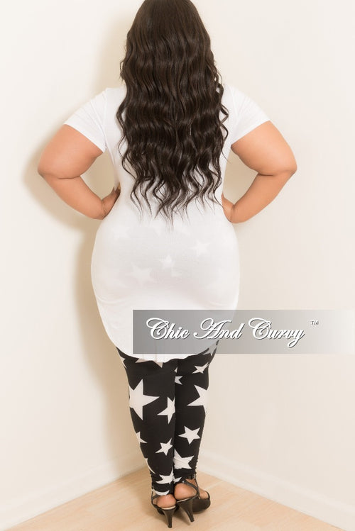 Final Sale Plus Size Star Leggings in Black and White