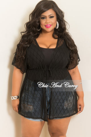 Final Sale Plus Size Long Sheer Cover Up with Tie in Royal Blue