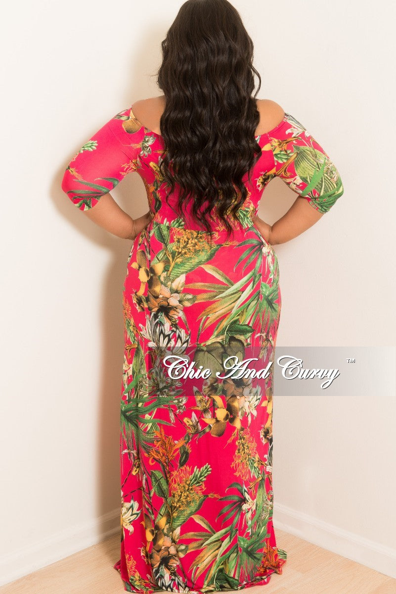 New Plus Size Off the Shoulder Halter Romper with Attached Long Skirt in Fuchsia Floral Print