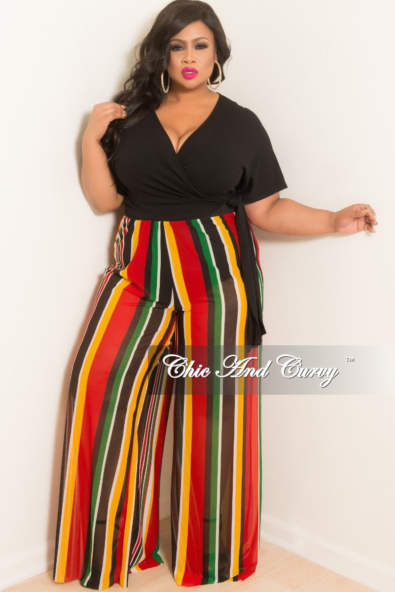 Final Sale Plus Size Striped Loose Mesh Pants in Red Green Mustard White and Black