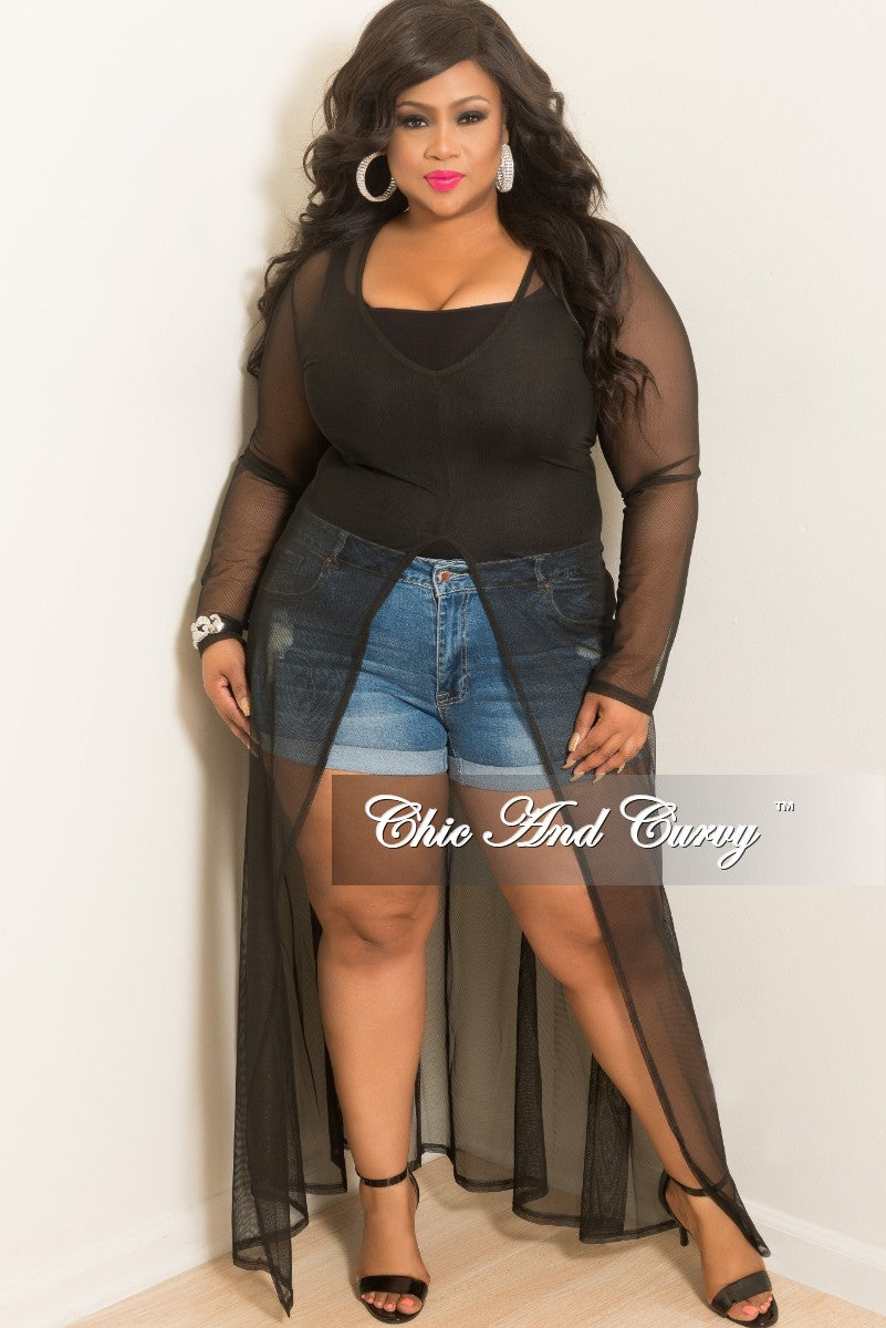 Final Sale Plus Size Mesh Cover Up Dress with Large Front Split in Black