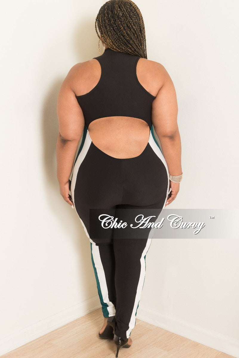 Final Sale Plus Size Sleeveless Jumpsuit with Open Lower Back and Front Zipper in Black with White and Dark Green Trim