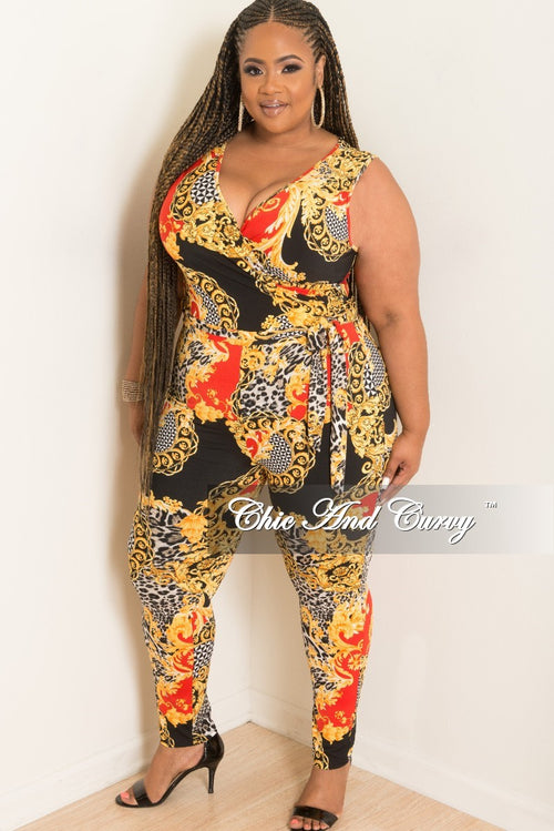 New Plus Size Sleeveless Faux Wrap Jumpsuit with Attached Tie in Red Gold Black and White Print