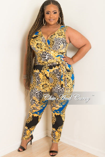New Plus Size Sleeveless Faux Wrap Jumpsuit with Attached Tie in Royal Blue, Gold, Black and White Print