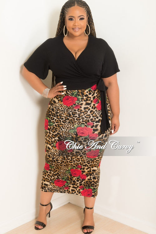 New Plus Size Short Sleeve Faux Wrap Tie Crop Top in Black