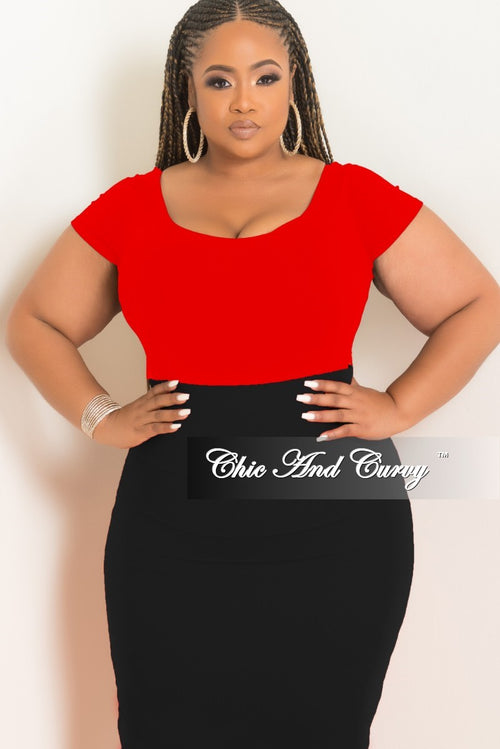 Final Sale Plus Size Seamless Basic Short Sleeve Top in Red