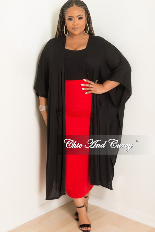 New Plus Size Duster with Pockets and Sides Slits in Black