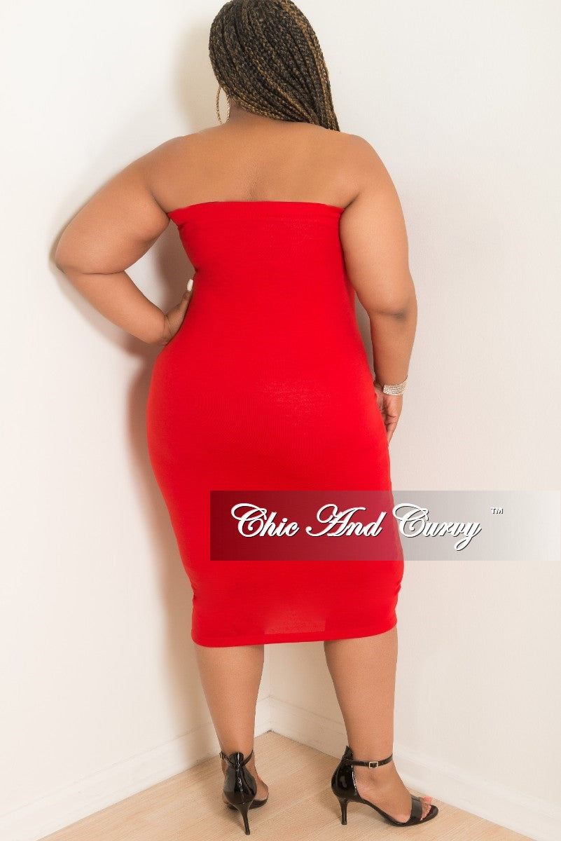 New Plus Size Tube Dress in Red