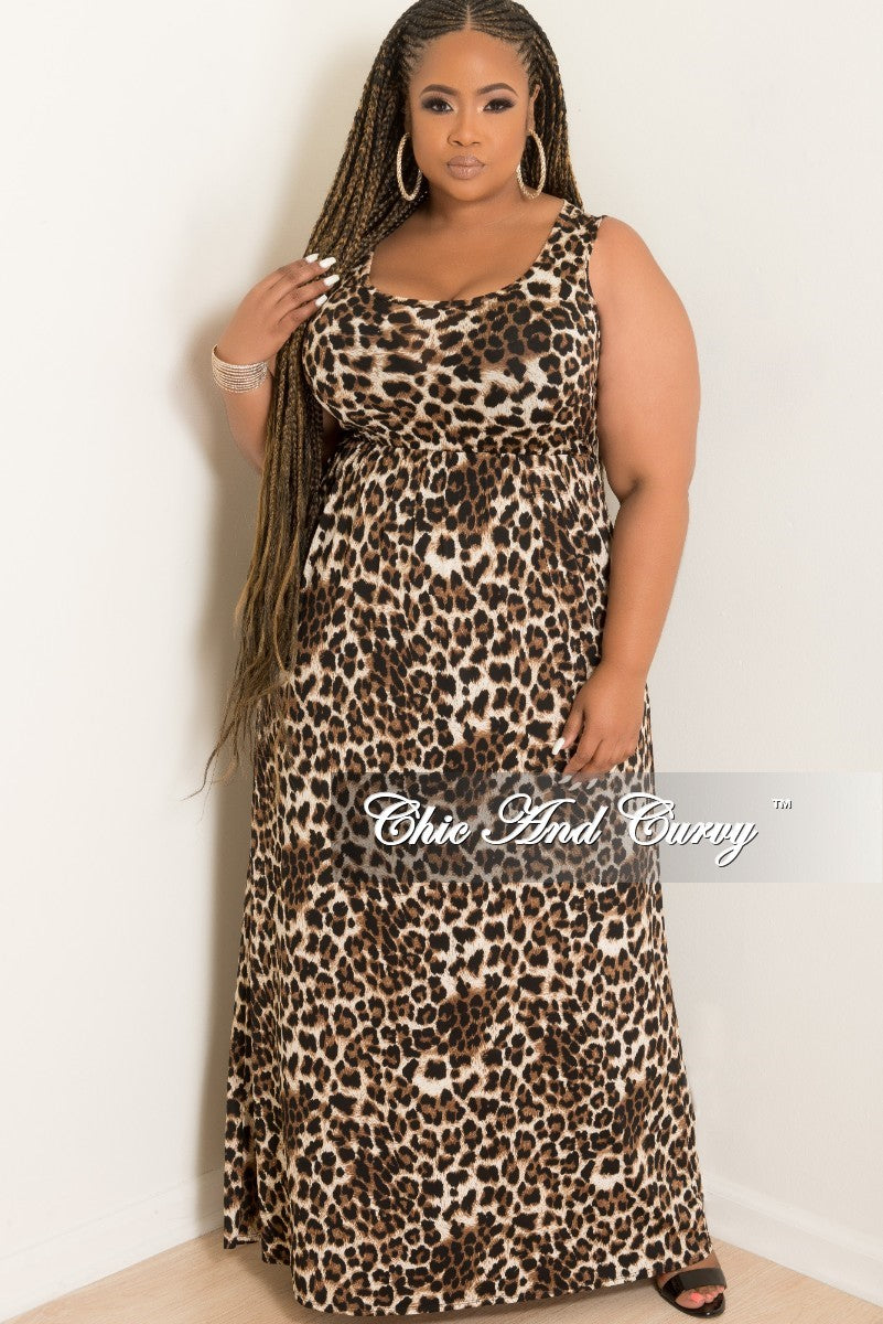 6096fdd9130 New Plus Size Sleeveless Long Pocket Dress in Dark Leopard Print – Chic And  Curvy
