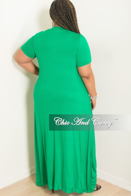 New Plus Size Short Sleeve Long High-Low Top in Green