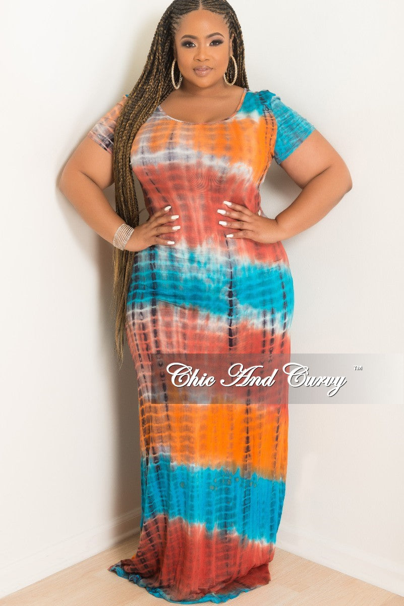 Final Sale Plus Size Short Sleeve Long Dress in Turquoise and Orange Tie Dye