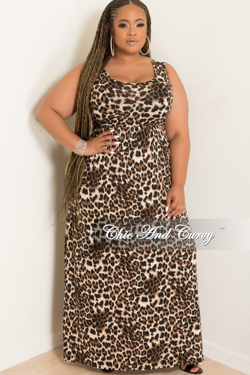 New Plus Size Sleeveless Long Pocket Dress in Dark Leopard Print