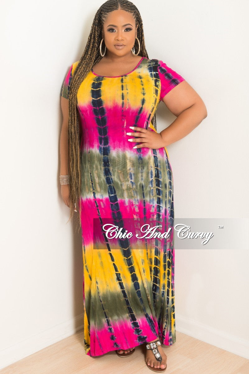 1cea7ec875 Final Sale Plus Size Short Sleeve Maxi Dress Tie Dye Olive, Pink and M –  Chic And Curvy