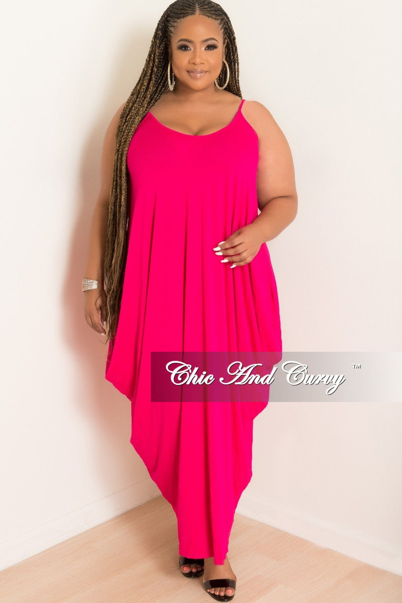 Final Sale Plus Size Spaghetti Strap Harem Dress in Hot Pink