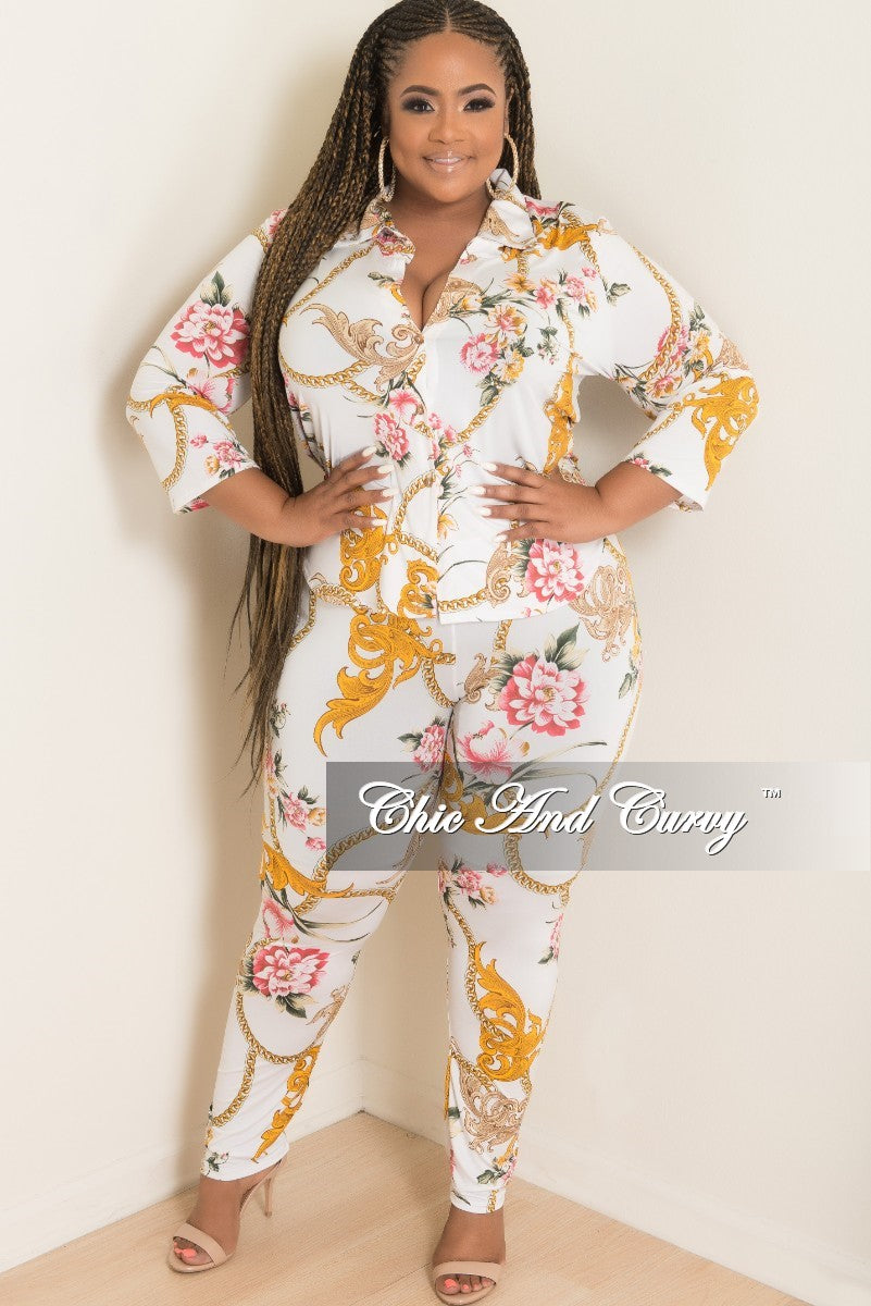 Final Sale Plus Size 2 Piece Button Up Collar Top and Pants Set in White Floral Chain Print
