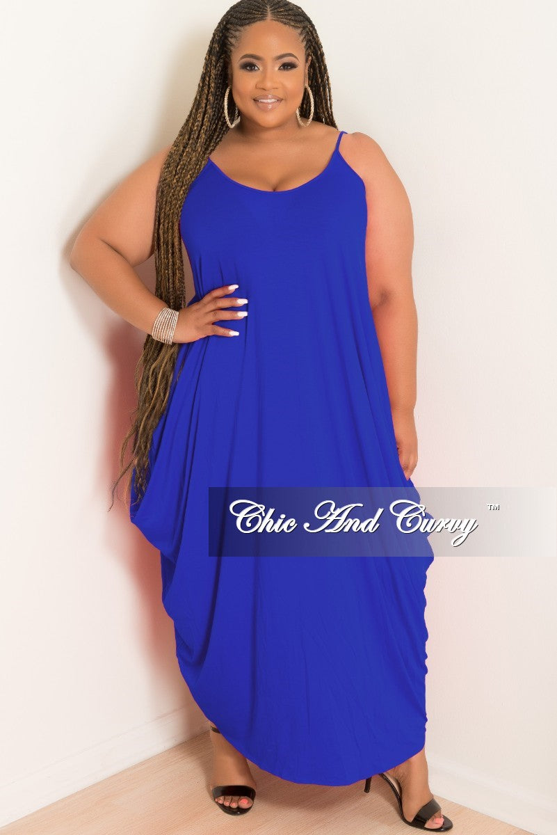 Final Sale Plus Size Spaghetti Strap Harem Dress in Royal Blue