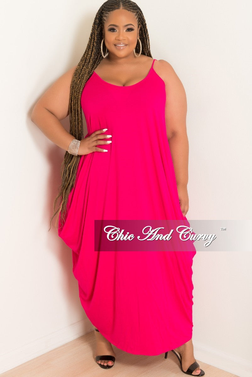 New Plus Size Spaghetti Strap Harem Dress in Hot Pink