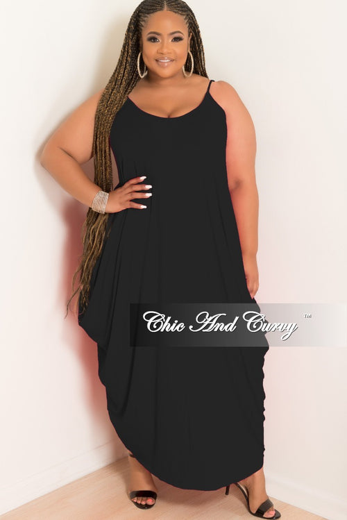 Final Sale Plus Size Spaghetti Strap Harem Dress in Black