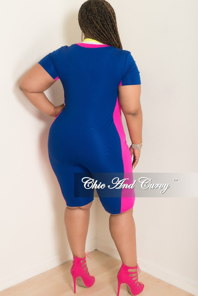 New Plus Size Sporty Zip-Up Knee-Length Jumpsuit in Royal Blue with Magenta White and Neon Yellow Trim