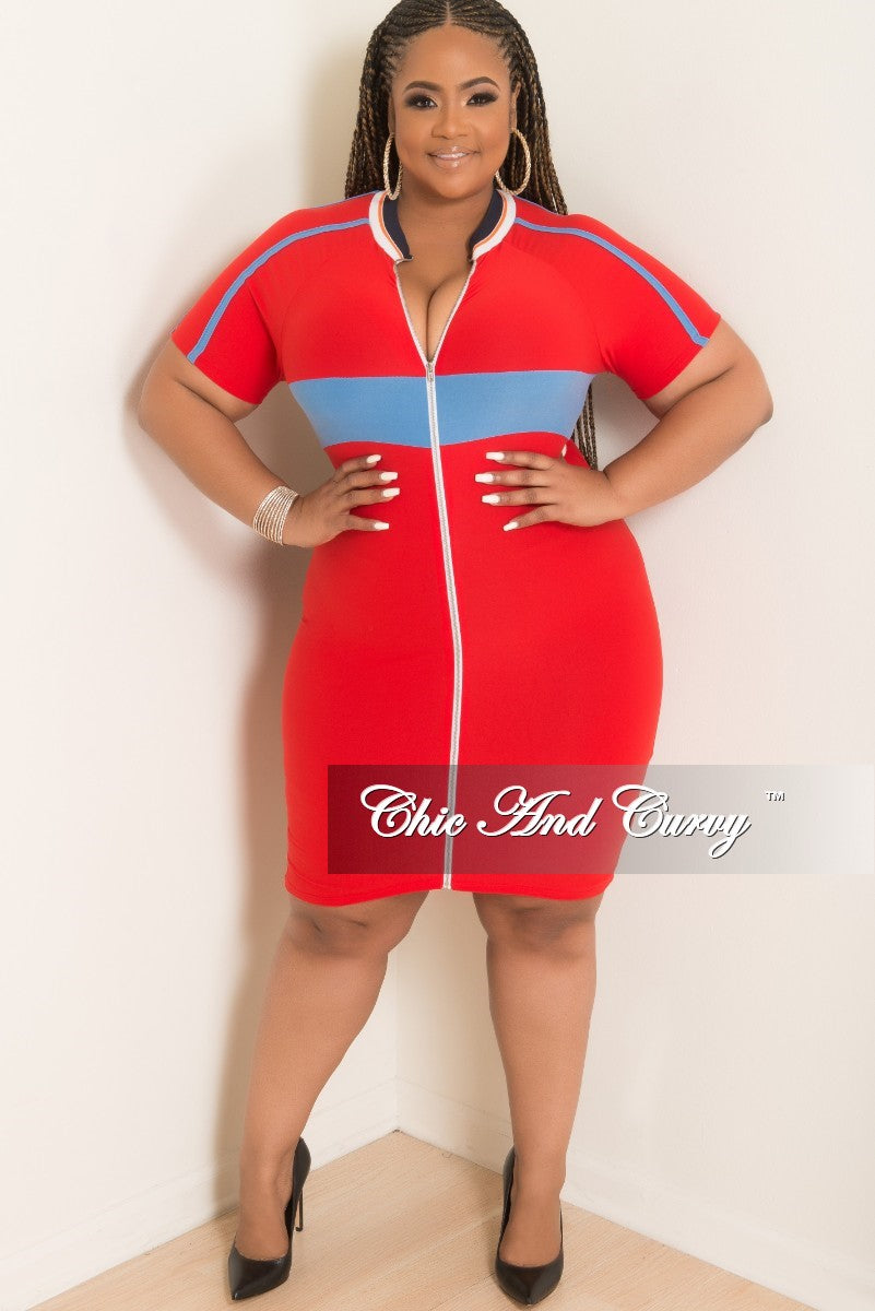 New Plus Size Short Sleeve Zip-Up Bodycon Dress in Red with Powder ...