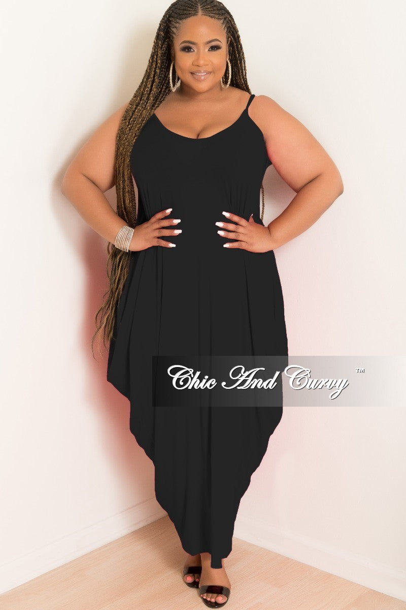 New Plus Size Spaghetti Strap Harem Dress in Black