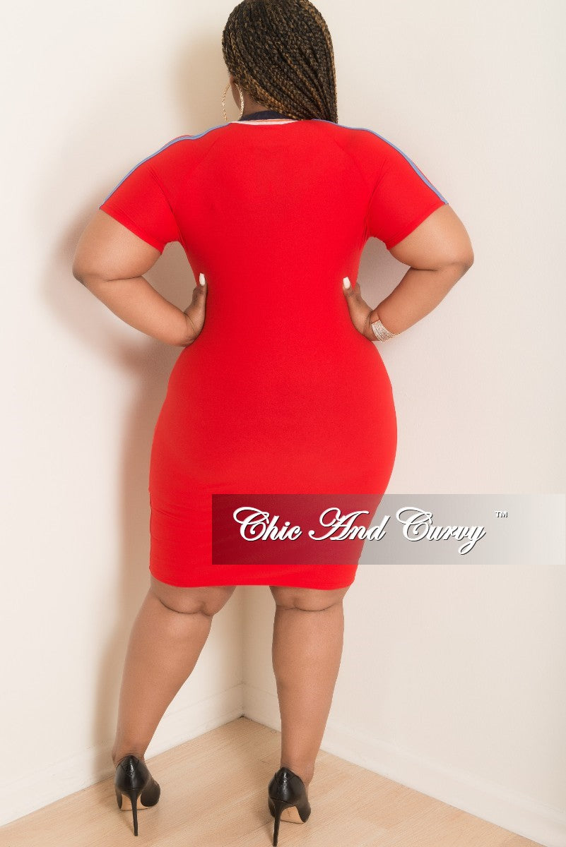New Plus Size Short Sleeve Zip-Up Bodycon Dress in Red with Powder Blue White Orange and Navy Trim