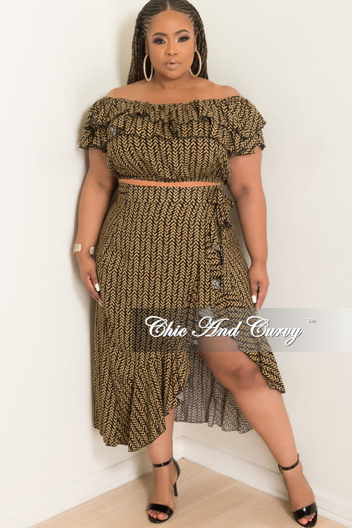 New Plus Size 2-Piece Off the Shoulder Ruffle Top and Wrap Tie Skirt Set in Black and Tan