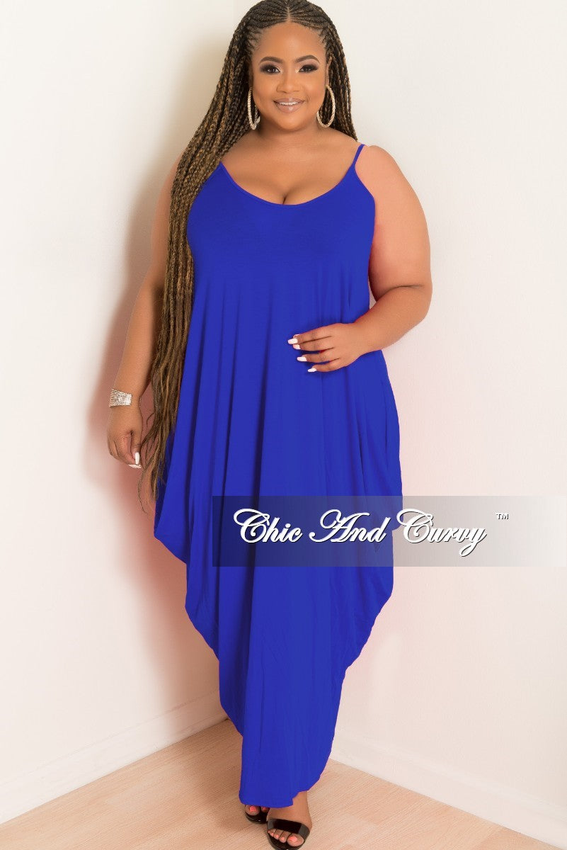 New Plus Size Spaghetti Strap Harem Dress in Royal Blue