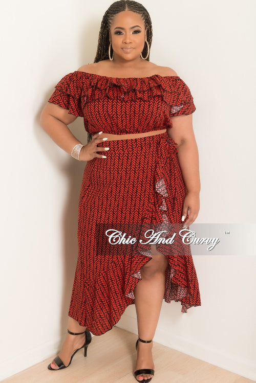 Final Sale Plus Size 2-Piece Off the Shoulder Ruffle Top and Wrap Tie Skirt Set in Black and Red