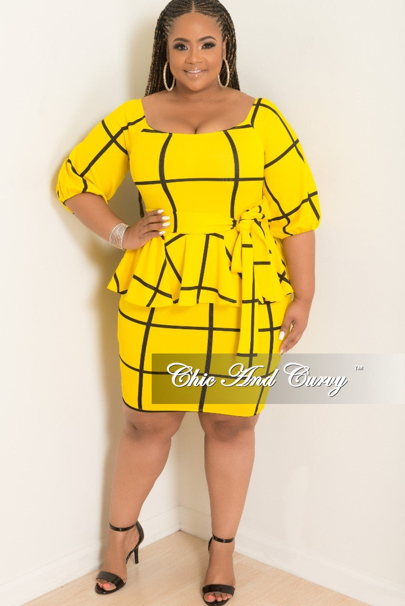 New Plus Size Off the Shoulder Peplum BodyCon Dress with Attached Tie in Yellow and Black