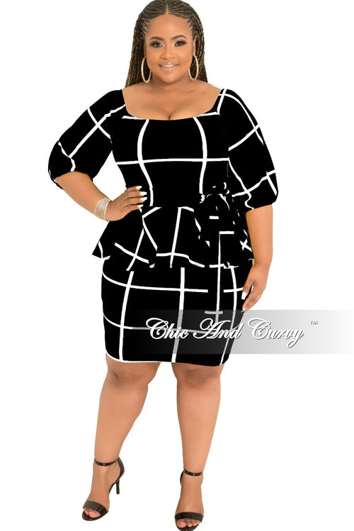 New Plus Size Off the Shoulder Peplum BodyCon Dress with Attached Tie in Black and White