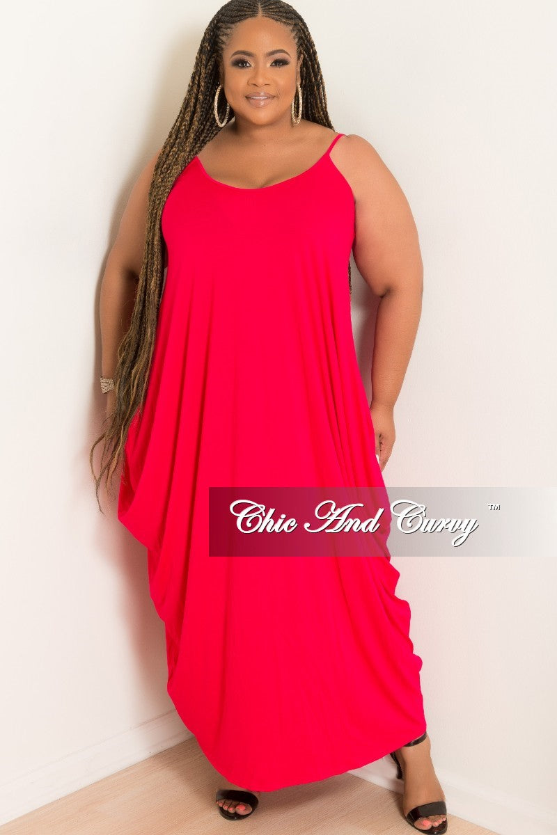 New Plus Size Spaghetti Strap Harem Dress in Red