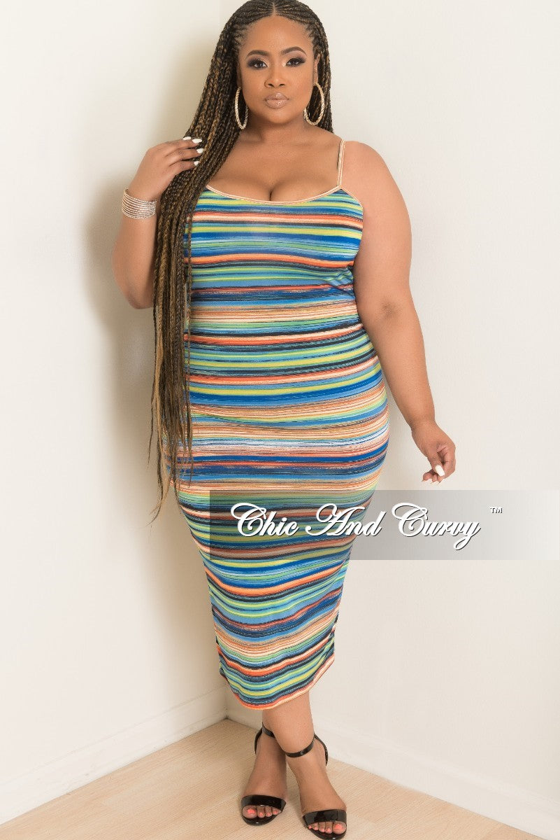 New Plus Size Spaghetti Strap BodyCon Dress with Back Bottom Slit in Multi Color Stripe Print