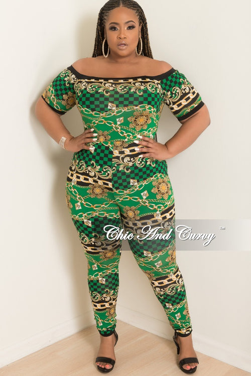 New Plus Size Checker Printed Jumpsuit in Green Black and Gold